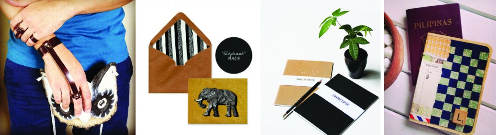 From left to right: leather accessories from Wolfe+Huntr, a doodled notecard set by Details Ink, Sunday Paper Co notebooks, and a paper collage passport holder by aireescreates.