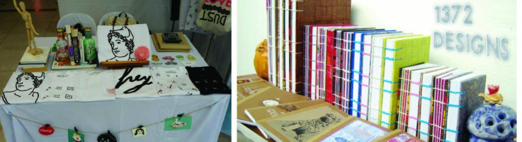 On the left: The Weekend Movement's stickers and shirts, and on the right: 1372 design's handbound books made of upcycled materials.