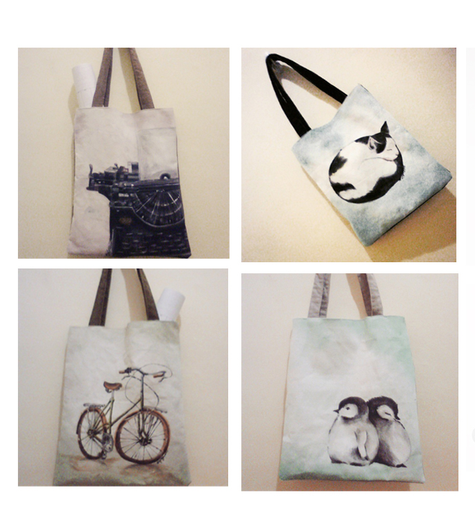 Loving the delicate designs on these pretty tote bags.
