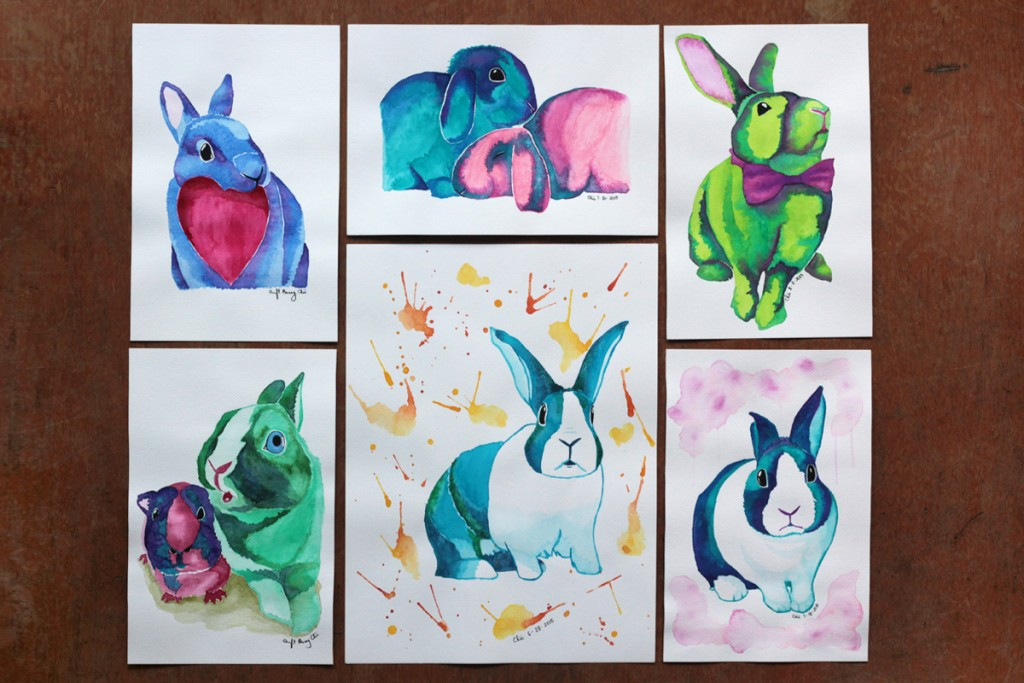 Bunny lovers, beware--these prints and postcards are gonna be up for grabs next weekend at the Maker's Market at Estancia!