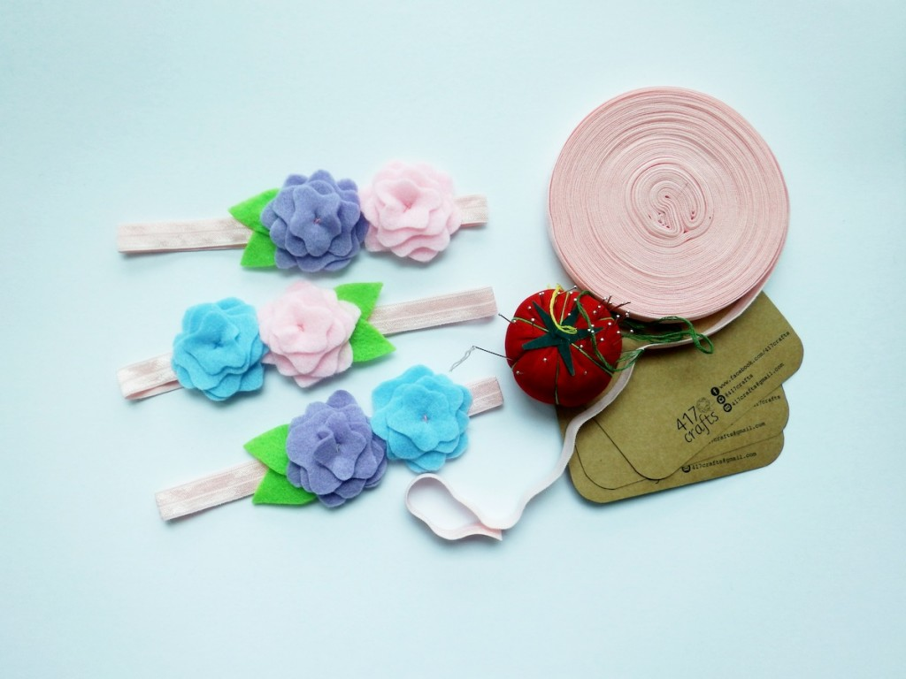 These garterized headbands are simply pastel-pretty.